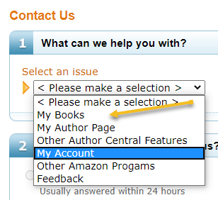 Amazon Contact Us Step 1